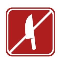 Restricted knife kitchen cook element square sign vector