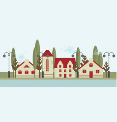 cute houses with red roofs street lamps and trees vector image