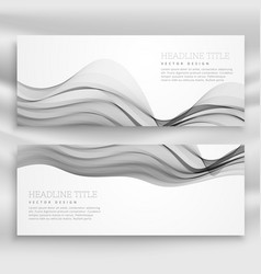Abstract wavy banners template in gray color vector