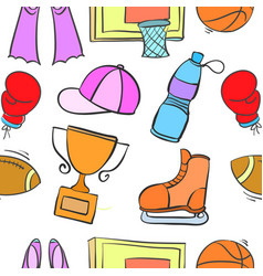 Doodle sport equipment object collection vector