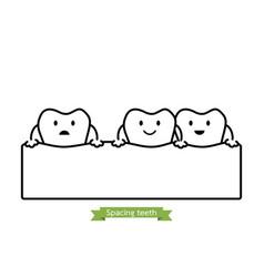 Spacing teeth or diastema - cartoon outline style vector