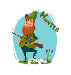 a hunter with a gun got a rabbit cartoon vector image