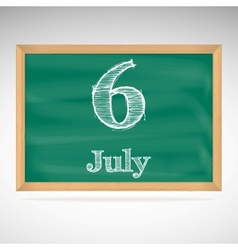 July 6 day calendar school board date vector