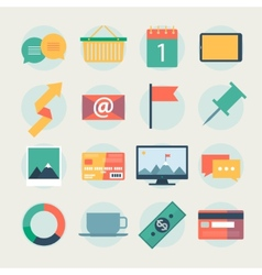 Modern flat icons collection web design objects vector image