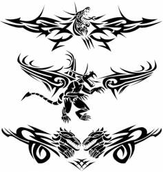 Tattoos dragons vector