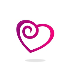 Love heart curl logo vector