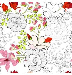 seamless decorative flowers vector image