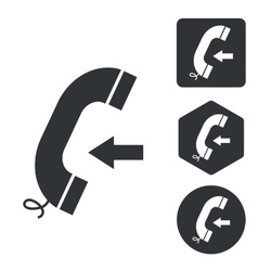 Incoming call icon set monochrome vector