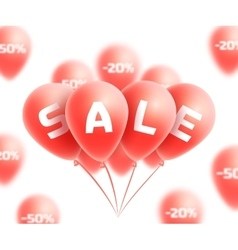 Sale background with red realistic balloons vector image