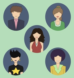 Five colored people icons vector