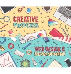 Set flat office creative process web design vector