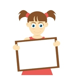 Happy girl with pigtails holding board icon vector