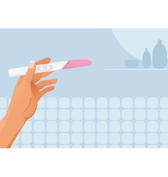 Hand with pregnancy test vector