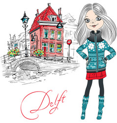 Beautiful girl in delft netherlands vector