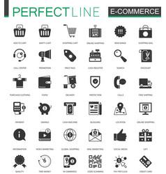Black classic e-commerce shopping icons set vector