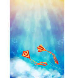 blue sky with kite vector image vector image