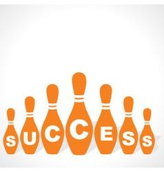 bowling pins make success word vector image