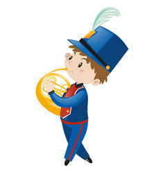 Boy in blue uniform playing french horn vector