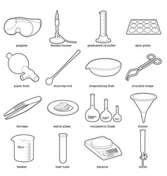 Chemical laboratory tools icons set outline style vector