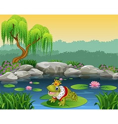 Cute king frog sitting on the lily water vector image vector image