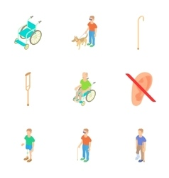 Disability people icons set cartoon style vector