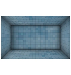 Empty futuristic room with blue mosaic walls vector