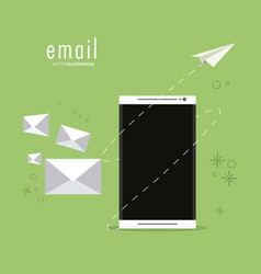 Envelope paper plane smartphone email icon vector