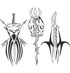 fantasy tribal tattoo sketches vector image