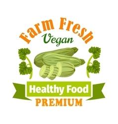 Farm fresh zucchini squash healthy food icon vector