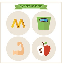 Flat Fitness Dieting Website Icons Set vector image vector image