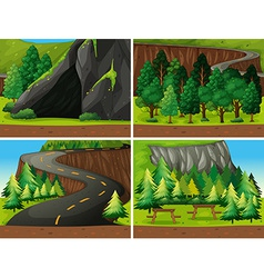 Forest and cave vector image
