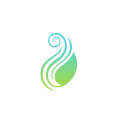 green leaf swirl beauty logo vector image