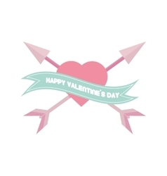 Happy valentines day card pink heart arrows vector