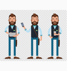 man hold tablet and phonestand with cap of coffee vector image
