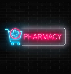 neon pharmacy glowing signboard with medical vector image vector image