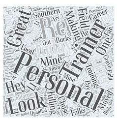 Personal trainers word cloud concept vector