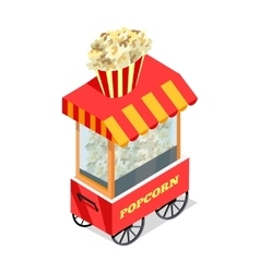 Popcorn trolley in isometric projection vector