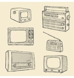 retro tv and radio set vector image vector image