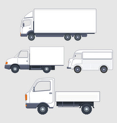 Set of different trucks and van truck bodies vector