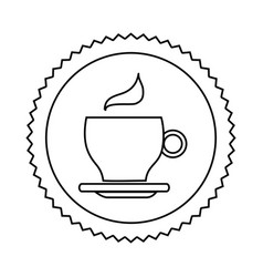 Silhouette seal sticker with silhouette coffee cup vector