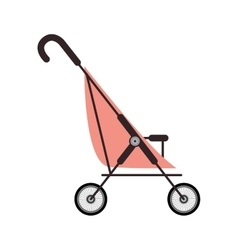 Simple pink baby carriage and wheels vector