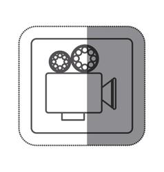 Sticker silhouette square shape with retro movie vector