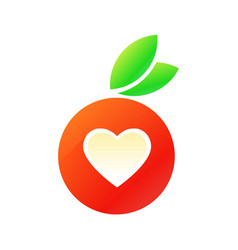 Tasty red apple with heart vector