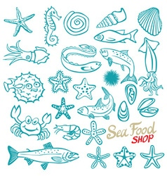 Hand drawn seafood shop vintage vector