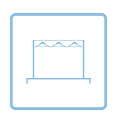Clothing rail with hangers icon vector