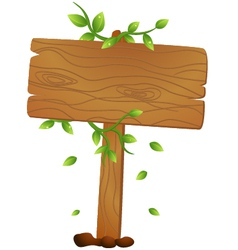 Wooden signs with leaf vector image