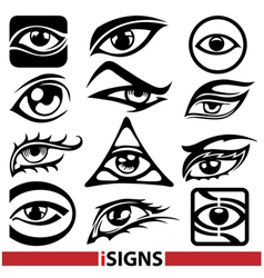 Eye signs and icons set vector