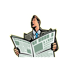 Close-up of man reading newspaper vector