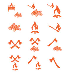 Set of campfire ax and firewood icons vector