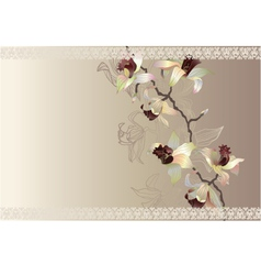 Orchid wedding cart vector